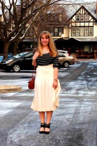 White Pleated Midi Front